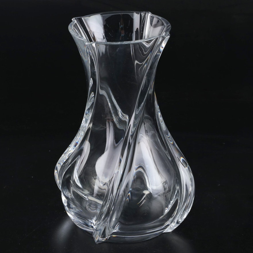"Baccarat Large ""Serpentin"" Crystal Vase, Contemporary"