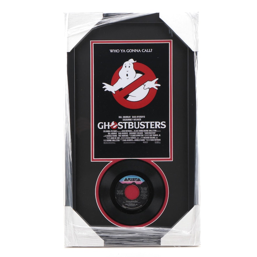 """Ghostbusters Movie """"Who Ya Gonna Call?"""" 45 RPN Record Photo Print Display, CEI"""