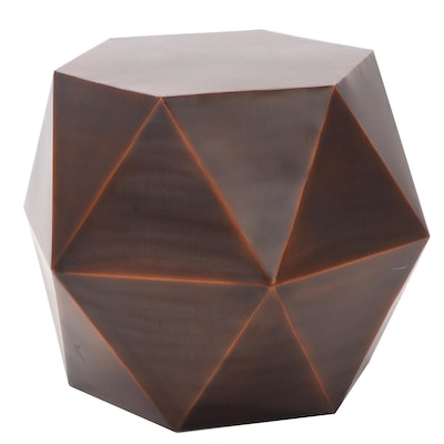 Safavieh Copper Finish Metal Modern Faceted Side Table