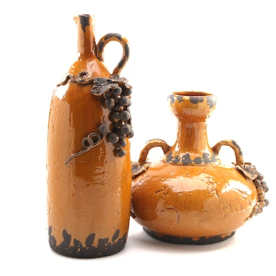Rustic Grape and Leaf Motif Large Ceramic Pitcher and Vase, 21st Century
