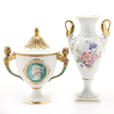 Kaiser Porcelain Vase with Neoclassical Italian Covered Ceramic Vase