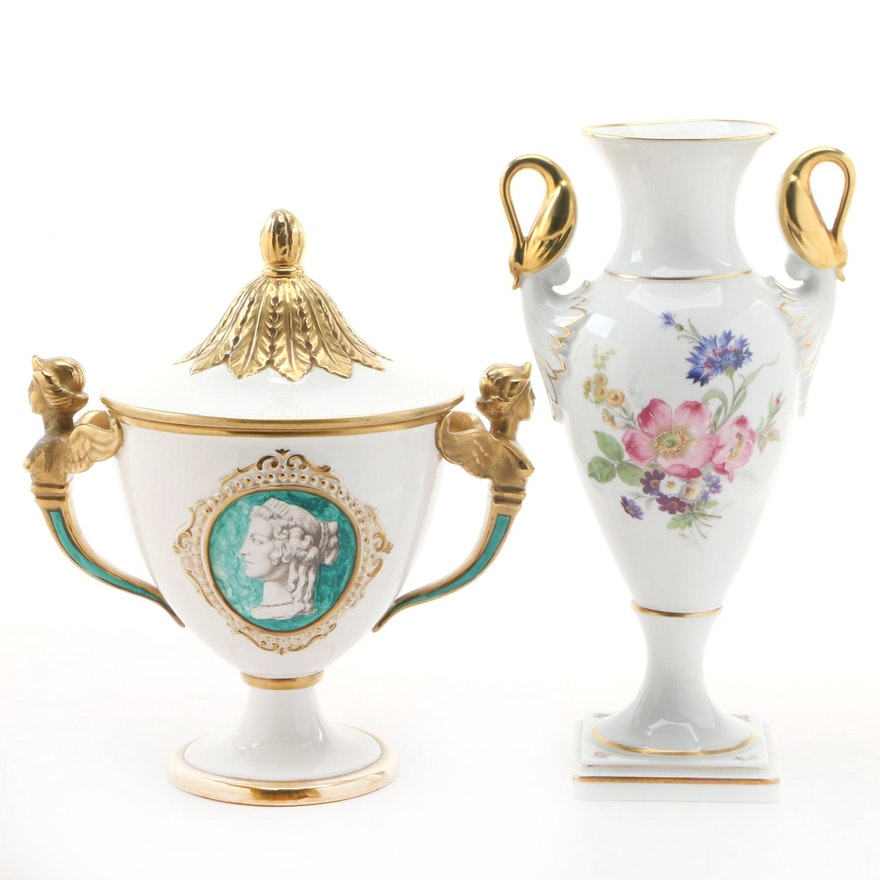 Kaiser Porcelain Vase with Neoclassical Italian Covered Ceramic Vase