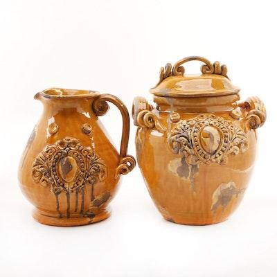Medici Intrada Italy Ceramic Lidded Jar and Pitcher