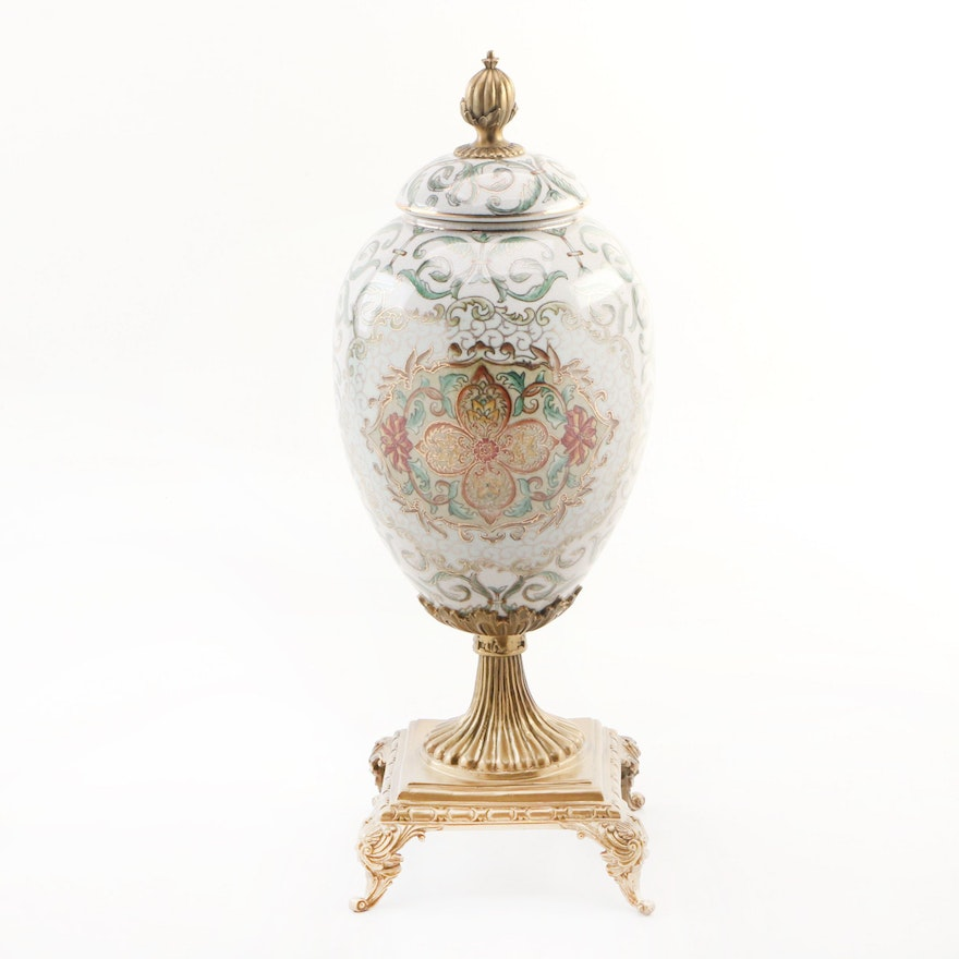Ceramic Egg Shaped Urn with Leaf and Floral Motif, Contemporary