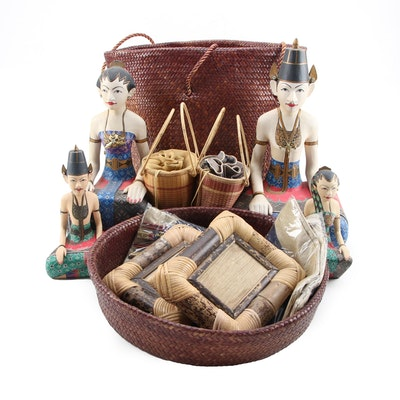 Indonesian Bride and Groom Figurines, Purses and Lidded Basket, Frames and More