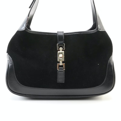 Gucci Jackie Bag in Black Suede and Leather