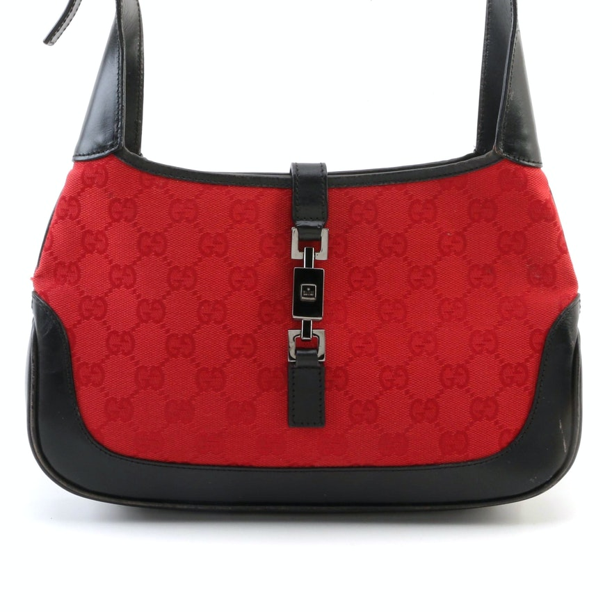 Gucci Red Guccissima Canvas and Black Leather Trimmed Jackie Shoulder Bag