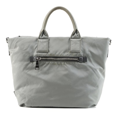 Prada Olive and Gray Tessuto Nylon Reversible Two-Way Tote Bag