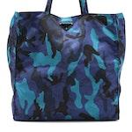 Prada Tote Bag in Blue and Black Camouflage Print Nylon