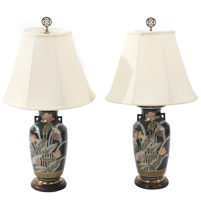 Pair of Painted Porcelain and Wood Base Table Lamps with Fabric Shades