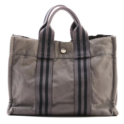 Hermès Gray and Black Cotton Canvas Tote