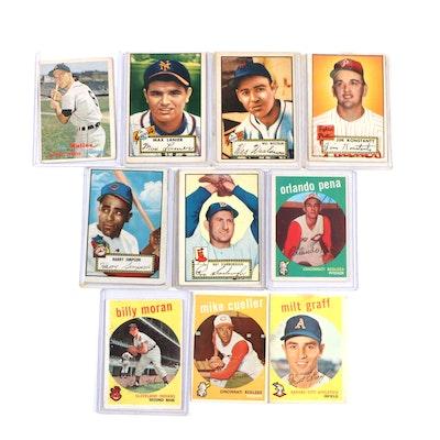 1950's Baseball Trading Cards Including Al Kaline, Jim Konstanty, and More