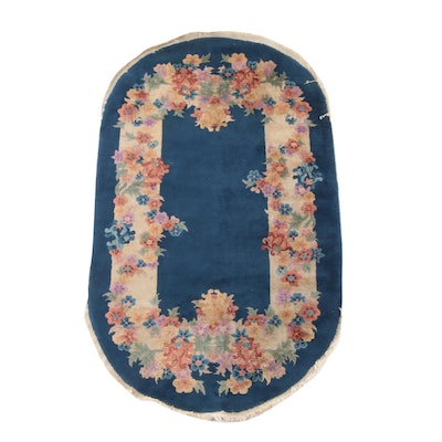3'11 x 6'11 Hand-Knotted Chinese Floral Wool Rug