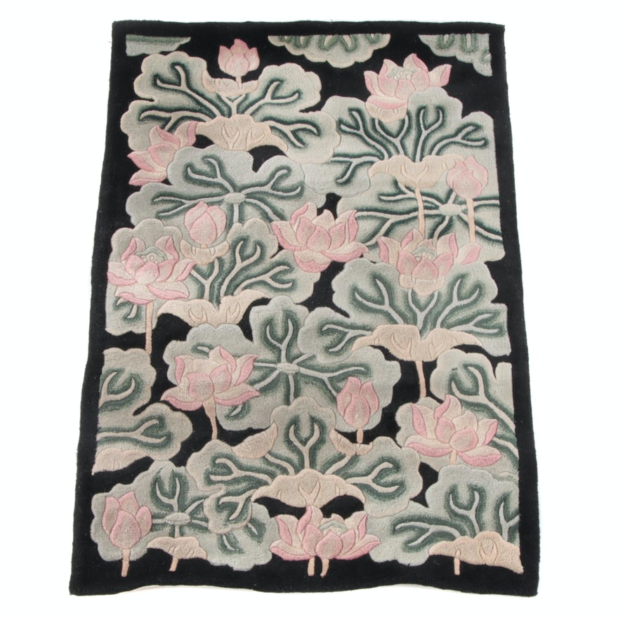 3'6 x 5'3 Hand-Tufted Chinese Carved Floral Wool Rug