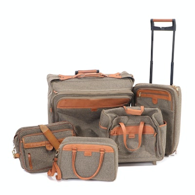 Hartmann Tweed and Leather Five-Piece Travel Luggage Set