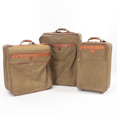 Hartmann Wheeled Soft-Side Suitcases and Garment Bag in Khaki Canvas