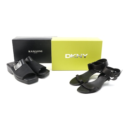 DKNY Heather and Rangoni Paddy Sandals in Black Leather