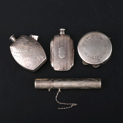 Sterling Silver Perfume Flasks, Pill Box and Tube, Early to Mid 20th Century