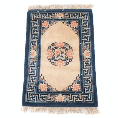 2'1 x 3'5 Hand-Knotted Chinese Carved Floral Wool Rug