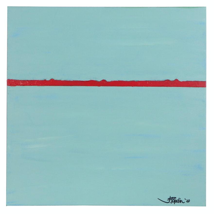 "J. Popolin Abstract Acrylic Painting ""Sedona Yoga II"""