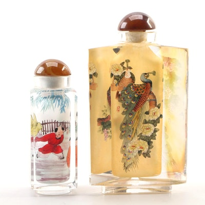 Chinese Reverse Painted Glass Snuff Bottles, Late 20th Century