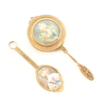 Gilt Metal Hand Mirrors with Chromolithographs After Elisabeth Vigée Le Brun