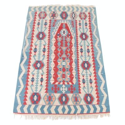 6'3 x 10'6 Handwoven Southwestern Style Split Kilim Wool Rug