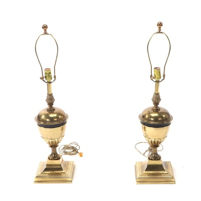 Pair of Ingrid Brass Lamps with Pleated Shades