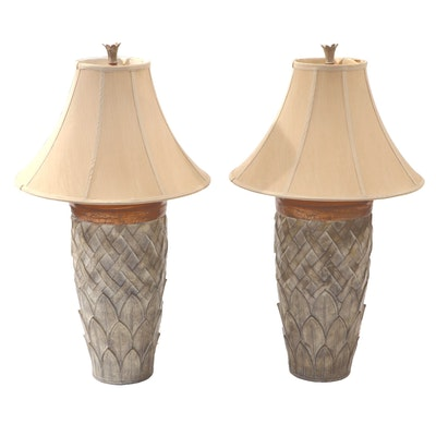 Pair of Artichoke and Trellis Patterned Composite Table Lamps