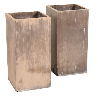 Pair of Wood Grain Concrete Planters, 21st Century