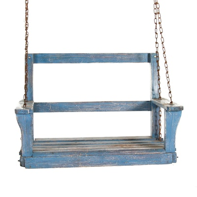 Rustic Painted Wood Child's Swing, Mid-20th Century