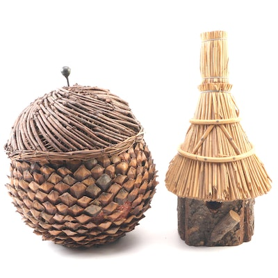 Decorative Pinecone Accent Basket with Bamboo and Wood Bird House