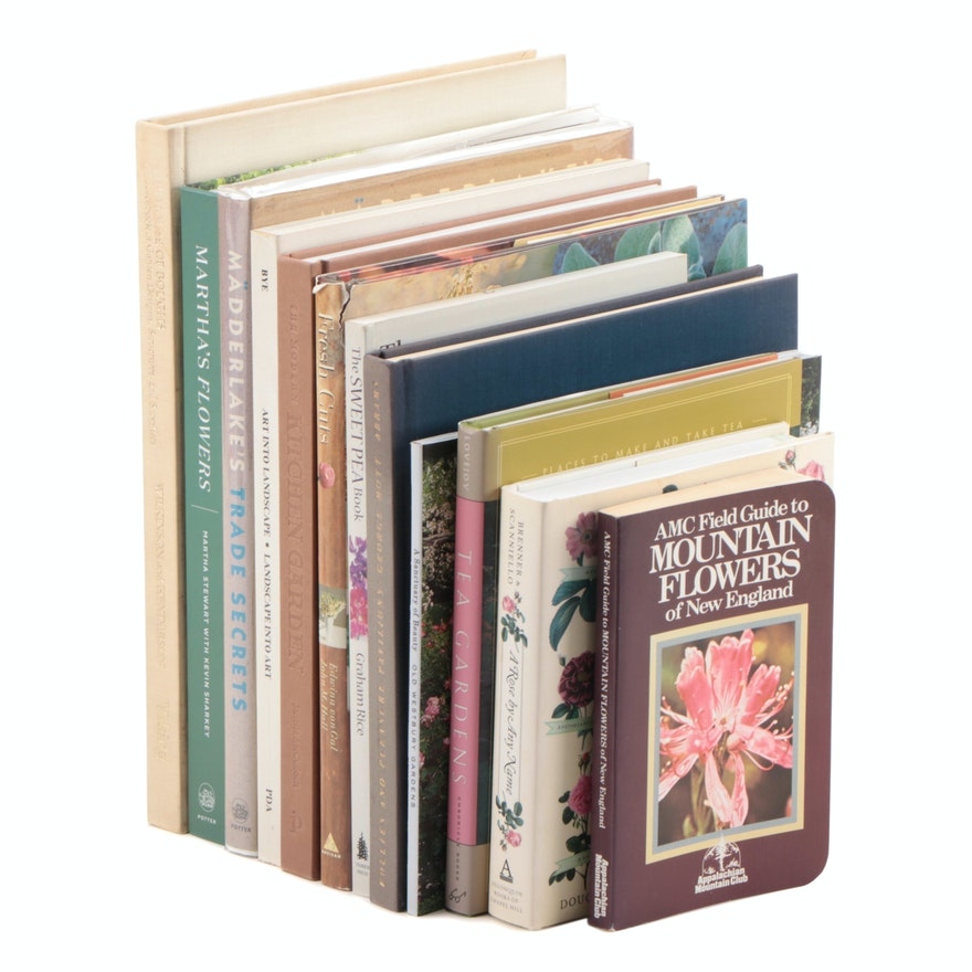 "Flowers, Gardening, and Landscaping Books Including ""Tea Gardens"" by Ann Lovejoy"