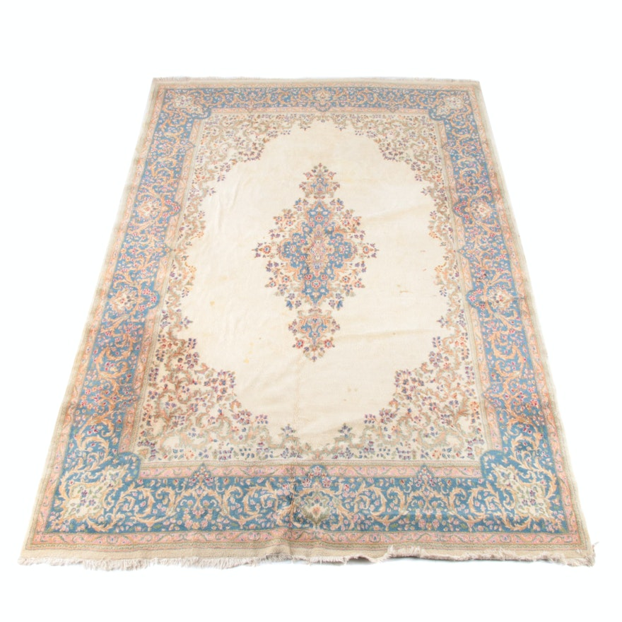 9'8 x 15'1 Hand-Knotted Persian Kerman Wool Rug