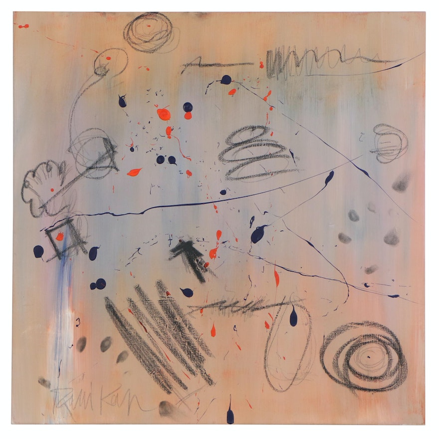 "Robbie Kemper Abstract Acrylic and Charcoal Composition ""Blends with Dot Marks"""
