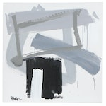 """Robbie Kemper Abstract Acrylic Painting """"Gray Black Rectangles"""""""