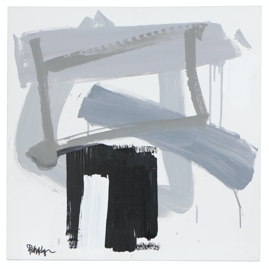 "Robbie Kemper Abstract Acrylic Painting ""Gray Black Rectangles"""