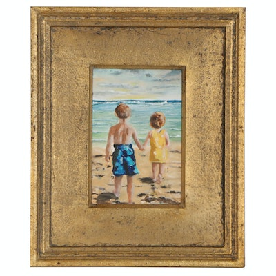 Oil Painting of Children at the Beach, 20th Century