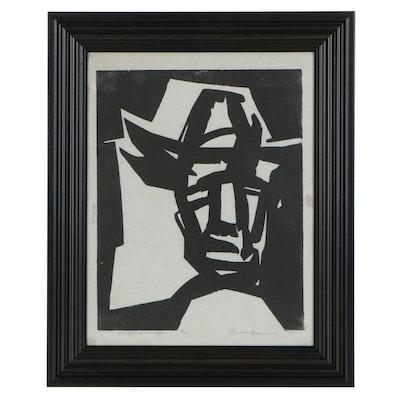 "Woodblock Portrait ""Ray Harris,"" 1953"