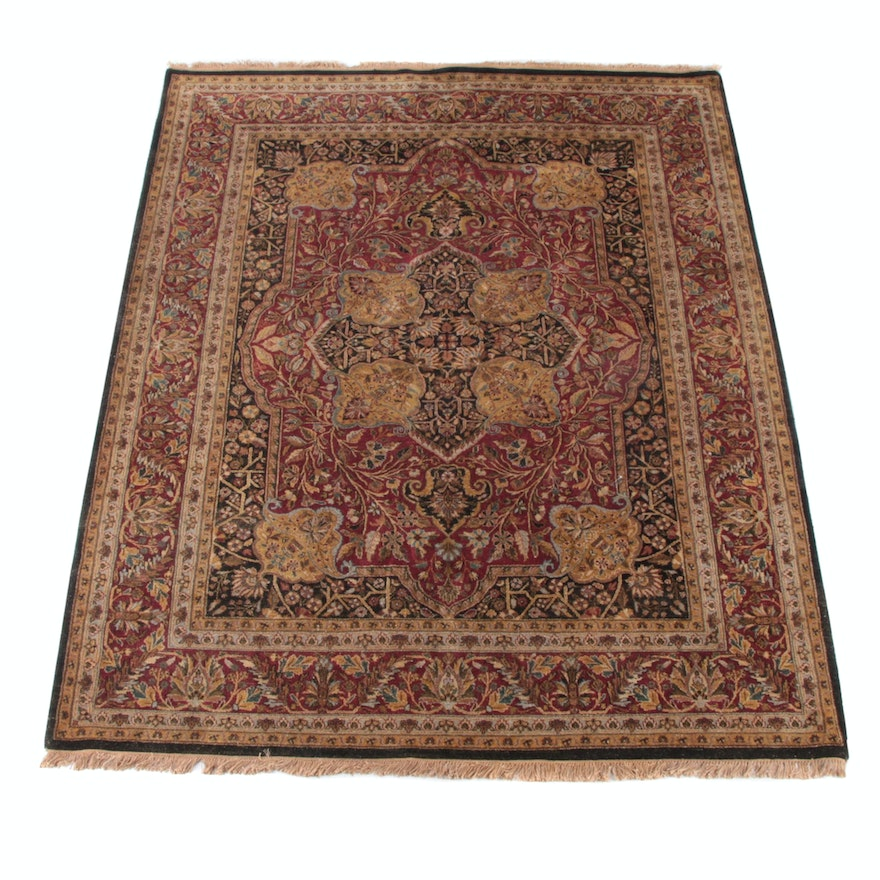 7'11 x 10'1 Hand-Knotted Indian Agra Wool Rug
