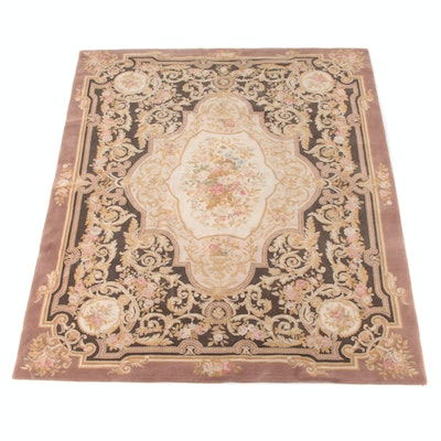 7'11 x 9'9 Hand-Knotted Chinese Style Floral Wool Rug