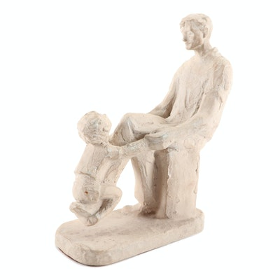 Father and Child Figurine, Mid to Late 20th Century