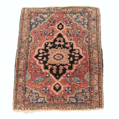 1'10 x 2'5 Hand-Knotted Persian Sarouk Wool Accent Rug, Antique