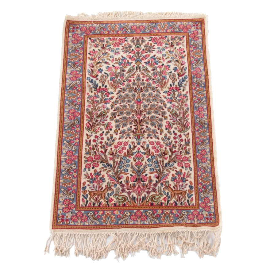 3'2 x 5'5 Hand-Knotted Persian Tabriz Tree of Life Wool Rug