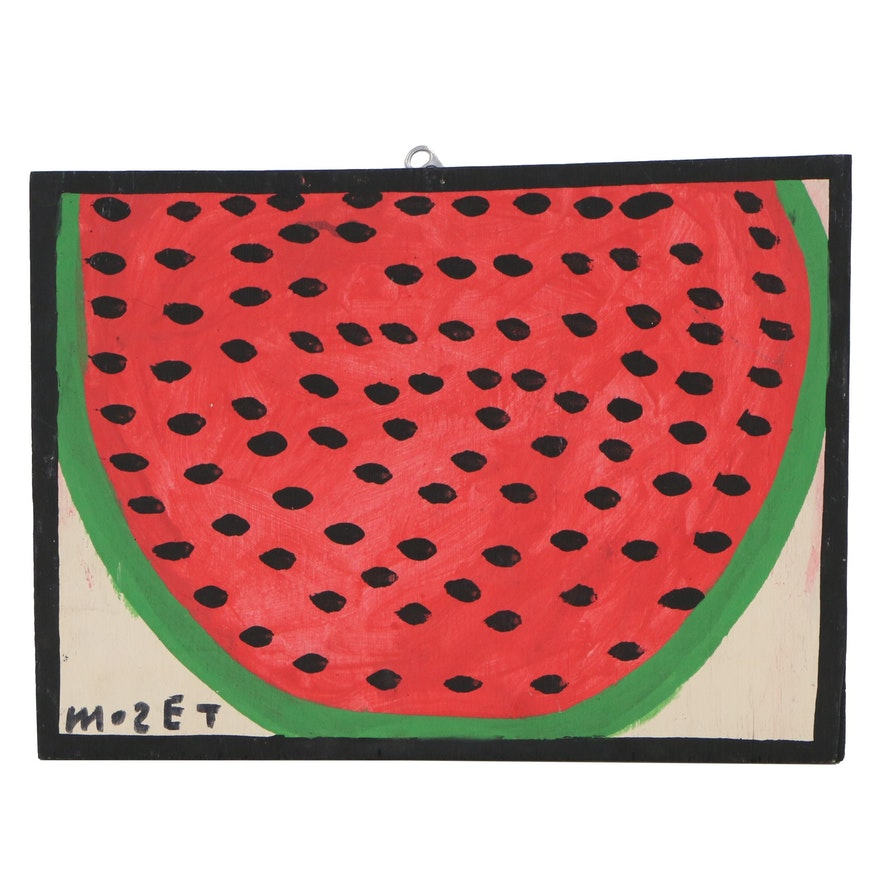 Mose Tolliver Folk Art Acrylic Painting of a Watermelon