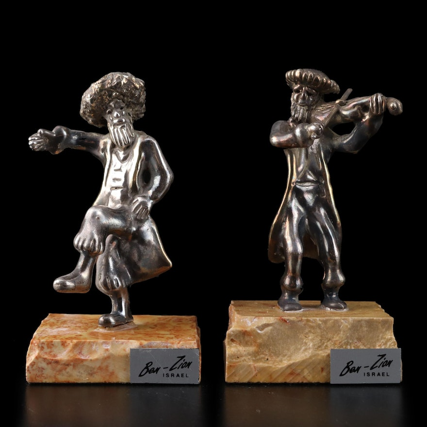 Ben Zion Sterling Silver and Marble Hasidic Dancer and Fiddler