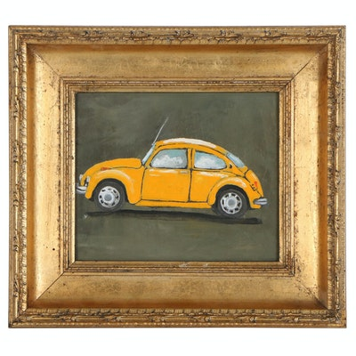 Oil Painting of a Yellow Volkswagen Beetle, 20th Century