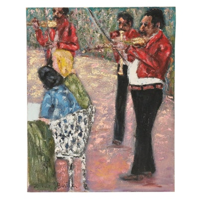Xavier J. Barile Oil Painting of Musicians in Courtyard, 20th Century
