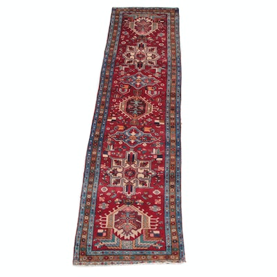3'4 x 12'8 Hand-Knotted Persian Karaja Wool Long Rug