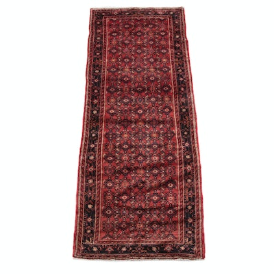 3'10 x 10'3 Hand-Knotted Persian Hamadan Wool Long Rug